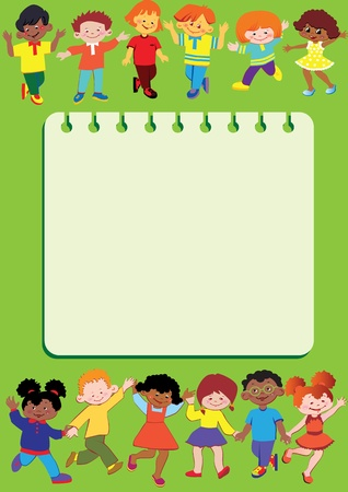 Happy children. Children frame. Place for your text. Vector art-illustration. Vector