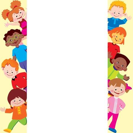 Marco de niños. Lugar para el texto. Infancia feliz. Vector art-ilustración. Ilustración de vector