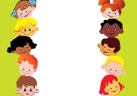 place for children: Marco de los ni�os. Lugar para el texto. Infancia feliz. Vector art-ilustraci�n.