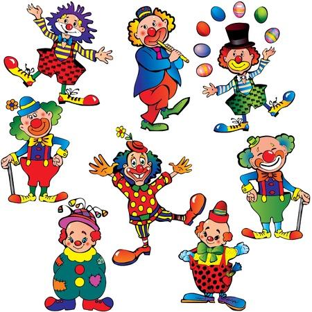 żartować: Zabawna klownów. Sztuka ilustracji wektorowych na biaÅ'ym tle. Ilustracja