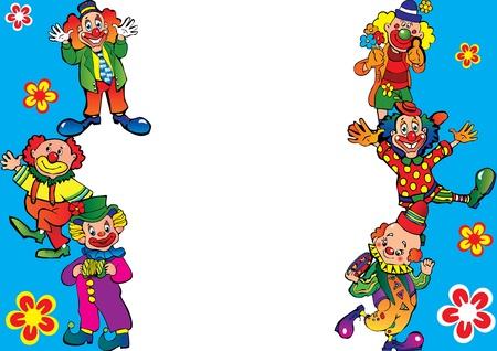 clown cirque: Dr�le cadre de clowns. Placez votre texte. Vecteur art-illustration.