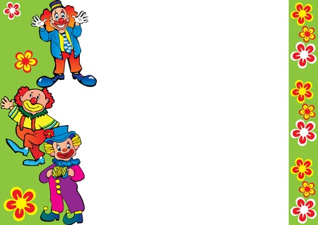 pacing: Funny clowns frame. Place for your text. Vector art-illustration. Illustration