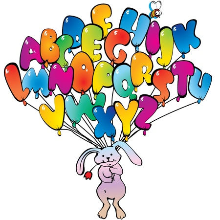 Funny cute rabbit flying on balloons in the form of the alphabet.  Vector art-illustration on a white background. Vector