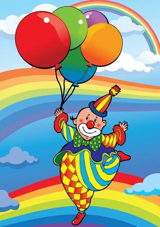 Clown flying on balloons. Vector art-illustration.