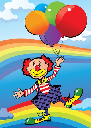 Clown flying on balloons. Vector art-illustration.