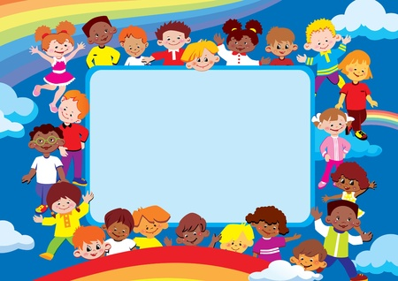 Kids frame. Place for your text. Happy childhood. Vector art-illustration. Vector