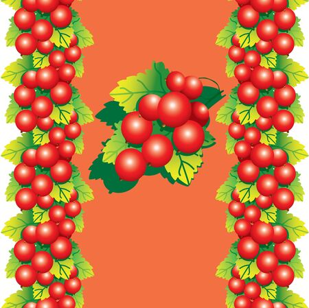 red currant: Red currant with green leaves on a orange background. Place for your text. Fruits pattern. Vector art-illustration.