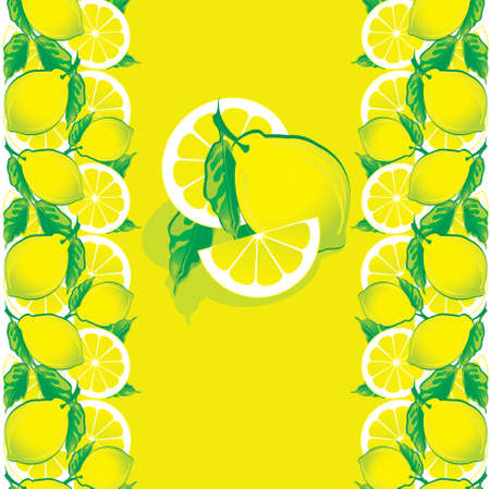 Lemons with green leaves on a yellow background. Place for sample text. Fruits pattern. Vector art-illustration.  Vector