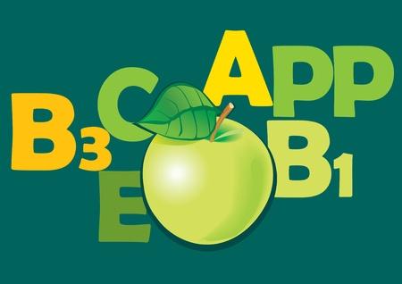 果物とビタミンが含まれています。リンゴ。ベクトル アート イラスト。