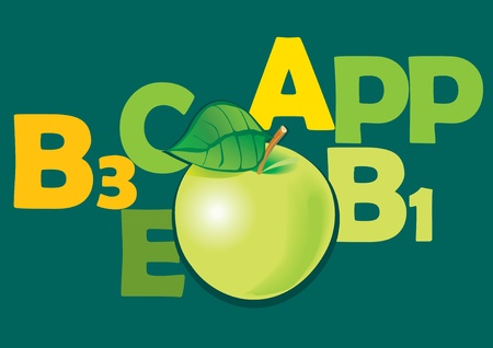 sappy: Fruits and vitamins that they contain.  Apples. Vector art-illustration. Illustration