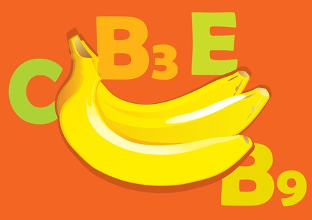 fruited: Fruit and vitamins that they contain.  Banana. Vector art-illustration. Illustration