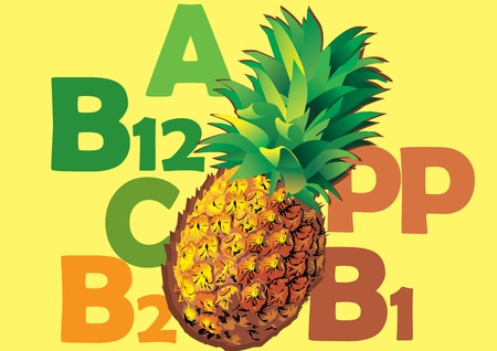 pineapple juice: Fruit and vitamins that they contain. Juicy pineapple.  Tropical fruit. art-illustration.