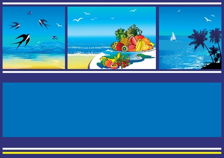 Summer tropical banner. Vector illustration on a blue background. Vector