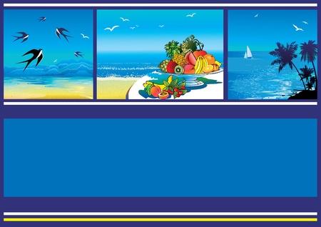 Summer tropical banner. Vector illustration on a blue background. Vector