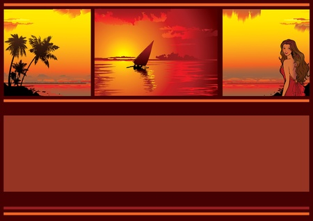 Summer tropical banner. Sunset. Vector art-illustration on a red background.  Vector