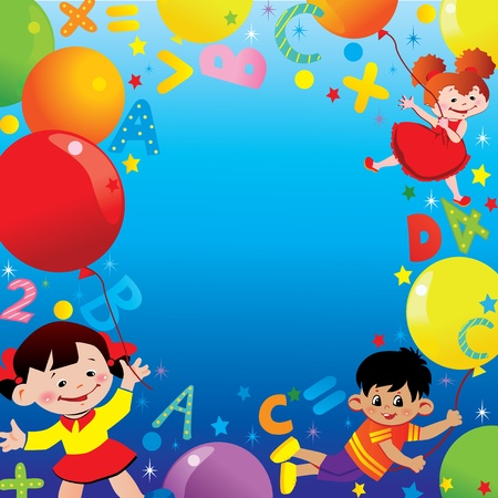 kids birthday party: Children flying on balloons. School childhood. Place for your text. Vector art-illustration.