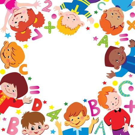 convivencia escolar: La escuela infantil. Lugar para el texto. Vector art-ilustración.