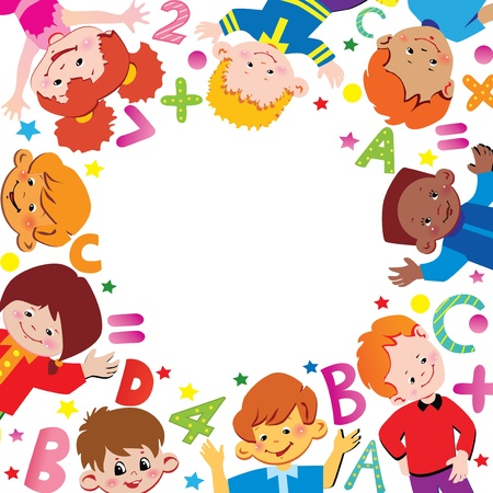 joy of life: School childhood. Place for your text. Vector art-illustration. Illustration