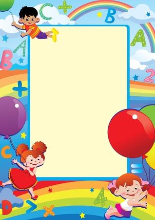 place for children: Los ni�os volando en globos. La escuela infantil. Lugar para el texto. Vector art-ilustraci�n.