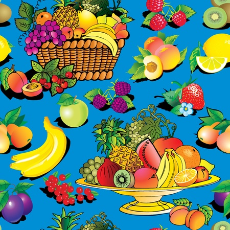 Seamless pattern of fruit and berries. Vector art-illustration on a blue background. Stock Vector - 11597813