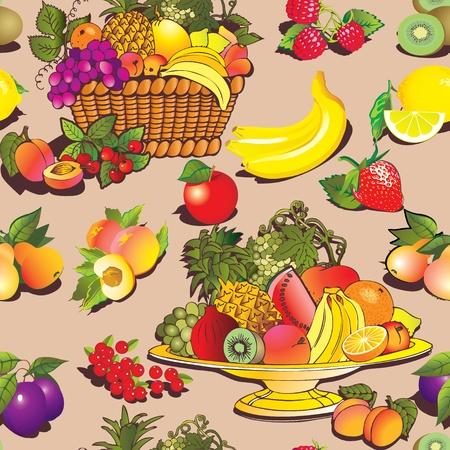 canastas con frutas: Sin fisuras patr�n de frutas y bayas. Vector el arte de ilustraci�n sobre un fondo azul.