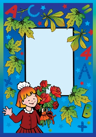 preschool teacher: School childhood. Small girl with flowers in the school. Place for your text. Vector art-illustration.