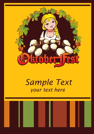 bavarian girl: Oktoberfest girl. Girl with beer. Vector art-illustration.