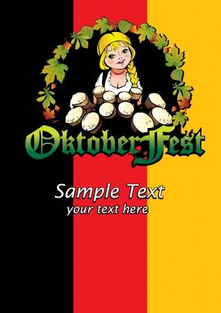 liter: Oktoberfest girl. Girl with beer. Vector art-illustration.