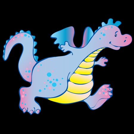 Baby dragon. Vector art-illustration on a black background. Vector