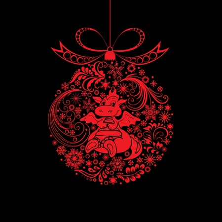 Christmas toy with a dragon. Vector art-illustration on a black background.  Vector