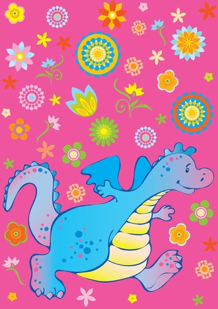 Funny dragon. Vector art-illustration on a pink background. Vector