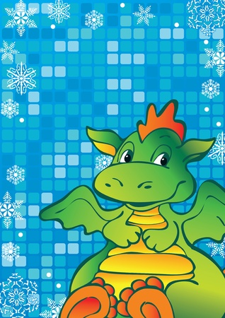 Funny green dragon. Vector art-illustration on a blue background. Place for your text. Vector