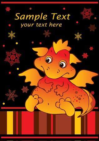 New Years card with baby dragon. Vector art-illustration on a black background. Place for your text. Vector