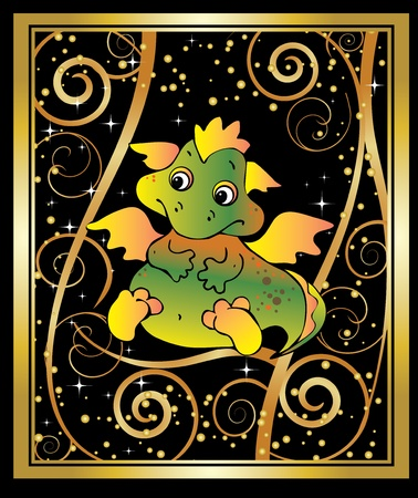 New Years card with baby dragon. Vector art-illustration on a black background. Vector