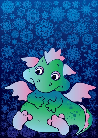 New Years card  with  baby dragon. Vector art-illustration on a blue background. Place for your text. Vector
