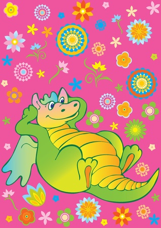 Green funny dragon. Vector art-illustration on a pink background. Vector
