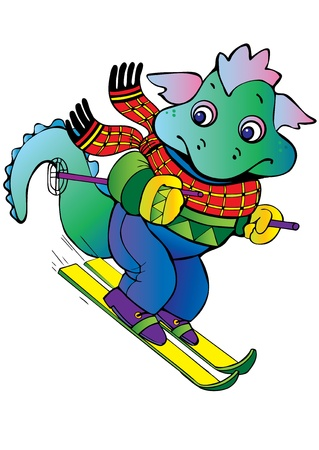Baby dragon-skier. Vector art-illustration on a black background. Vector