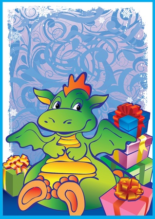 baby dragon: New Years card with baby dragon. Vector art-illustration. Place for your text.