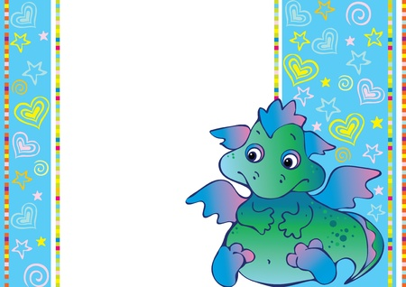 dragon cartoon: New Years card with baby dragon. Vector art-illustration. Place for your text.