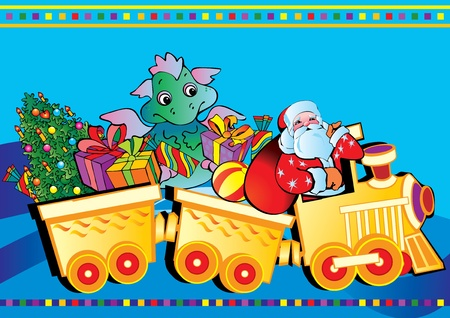 Santa Claus and baby dragon on a train with Christmas gifts. Vector art-illustration for New Years. Vector