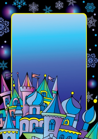 Christmas postcard with winter town. Vector art-illustration for Christmas and New Year. Place for your text.
