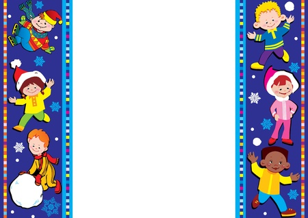 Kids frame. Happy childhood. Vector art-illustration. Place for your text. Vector