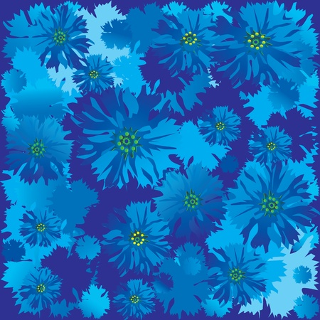Cornflowers. Vector art-illustration on a blue background. Place for your text. Vector