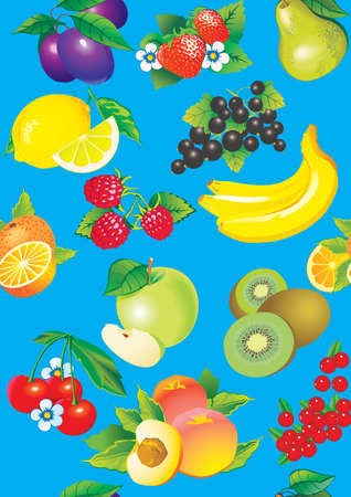 sappy: Juicy fruits  Vector art-illustration on a blue background