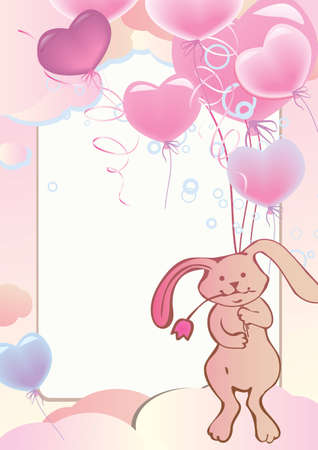 Funny cute rabbit flying on balloons  Place for your text  Vector art-illustration  Stock Vector - 13156378