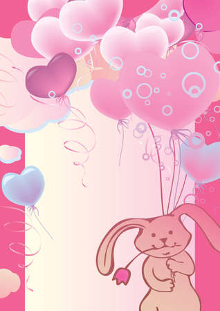 Funny cute rabbit flying on balloons  Place for your text  Vector art-illustration  Vector