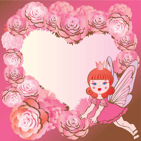 Princess in Love  Fairy-tale  Vector art-illustration on a pink background  Vector
