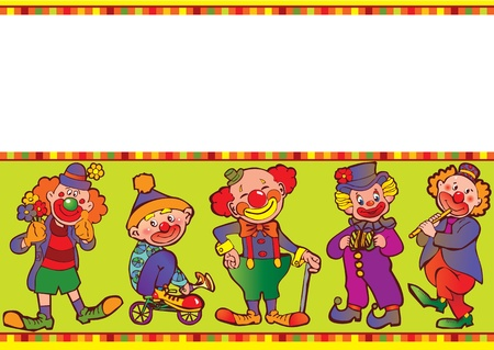 Funny clowns frame  Place for your text  Vector art-illustration