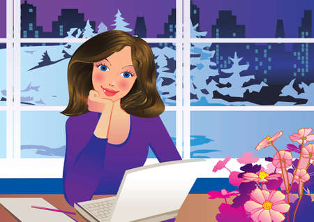 Beautiful businesswoman working in her office  Vector art-illustration  Çizim