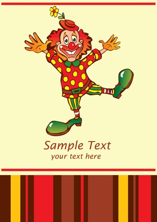 circus artist: Funny clown  Place for your text  Vector art-illustration  Illustration
